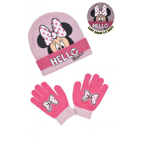 Minnie bow hat and gloves set