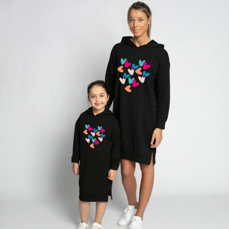 Hooded dress Colorful hearts