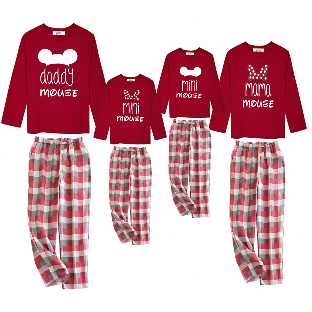 Familiy Mouse pajamas red t-shirt and...
