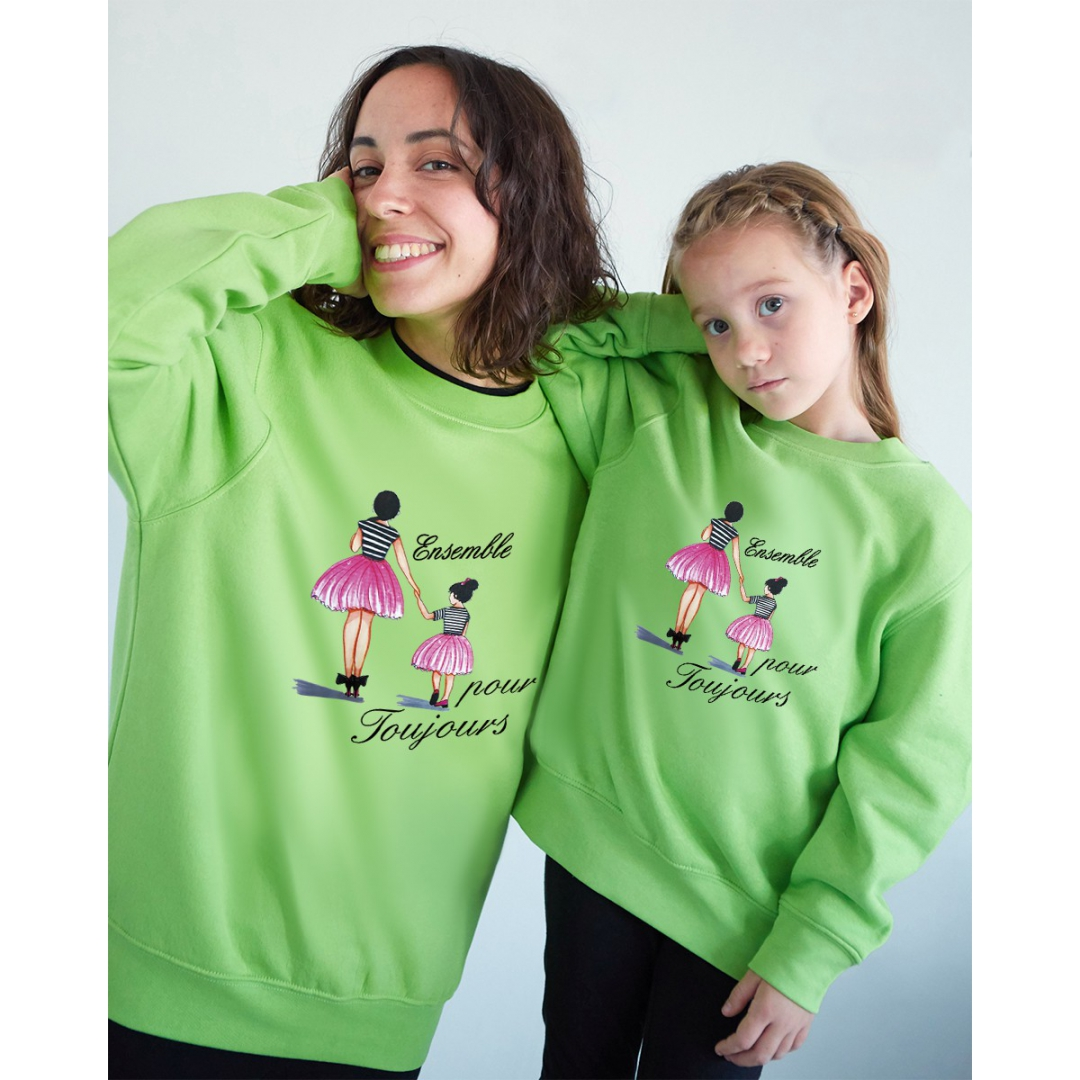 Together forever French text sweatshirt