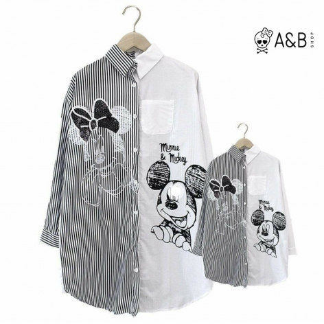 Minnie & Mickey striped shirt