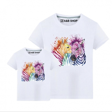 Multicolored Zebras T-shirt