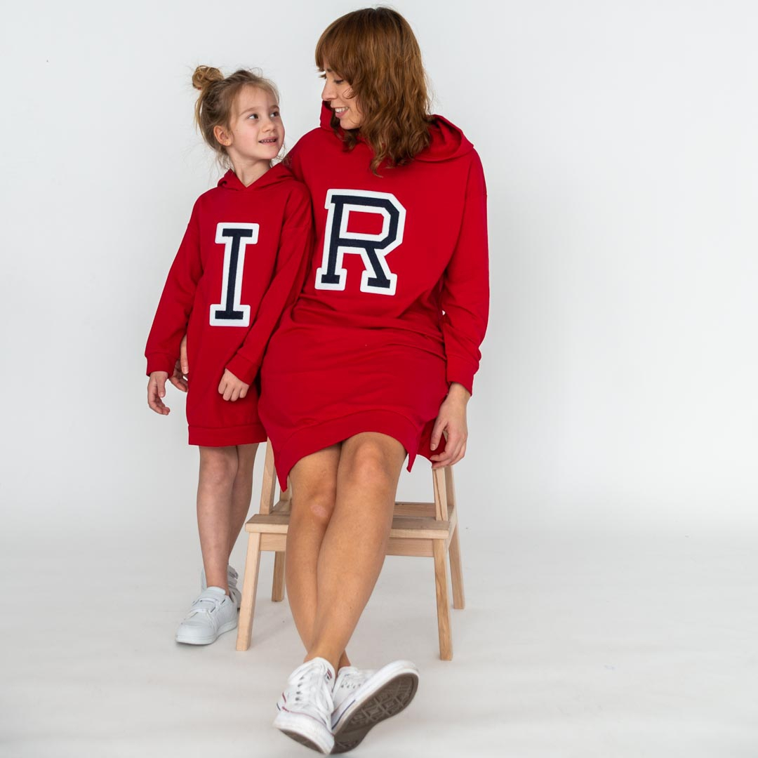 Initials Hooded Dress Red