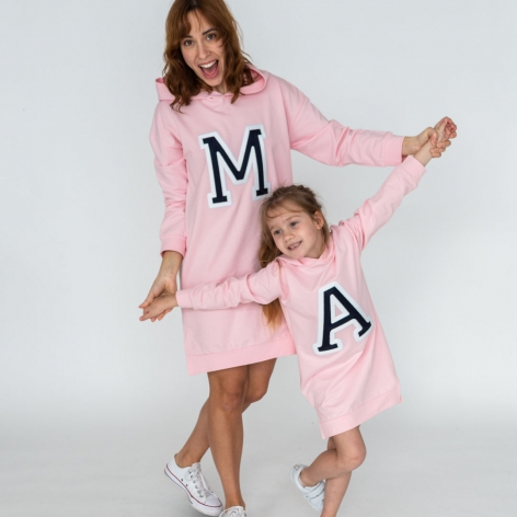 Initials Hooded Dress Pink