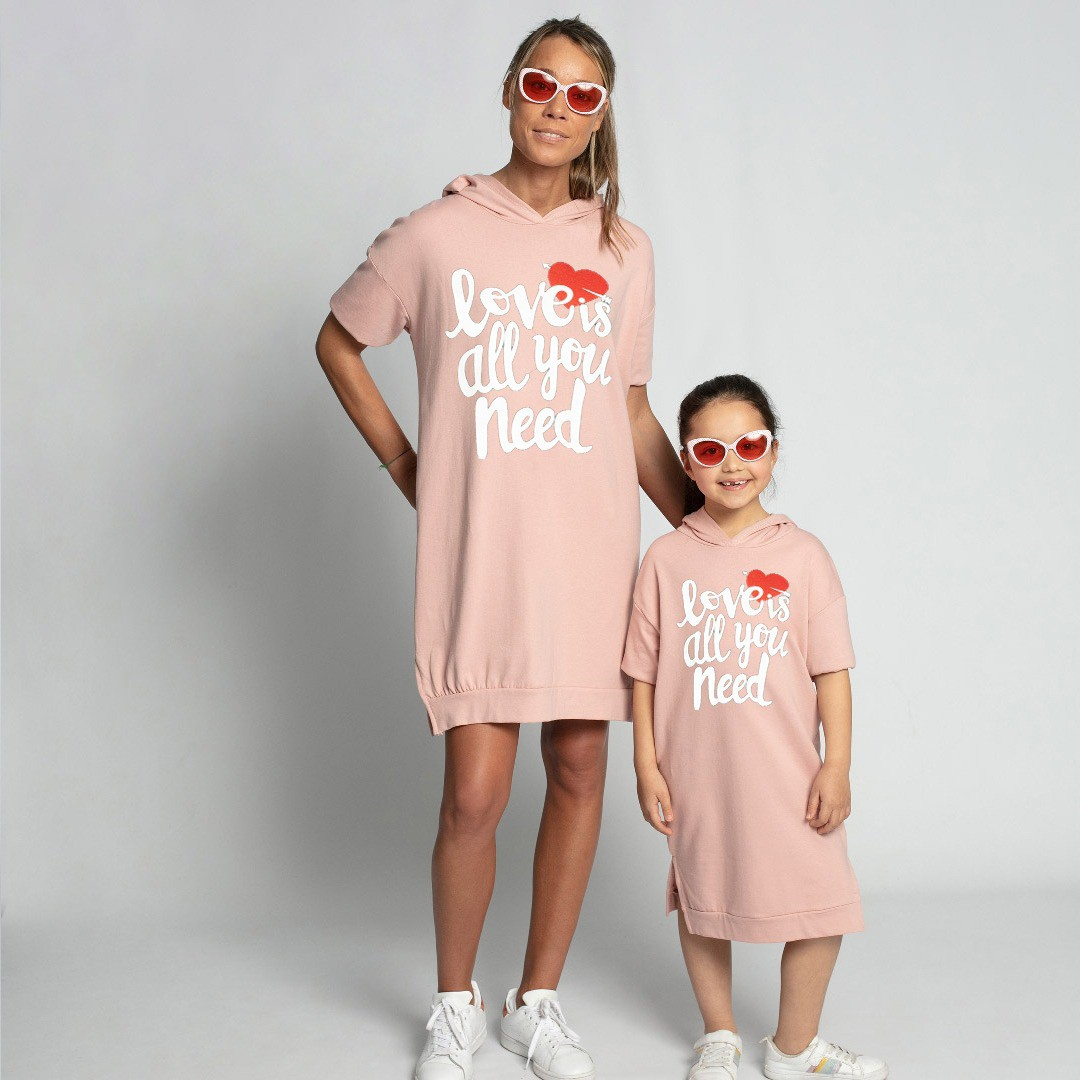 Love is all you need hooded dress