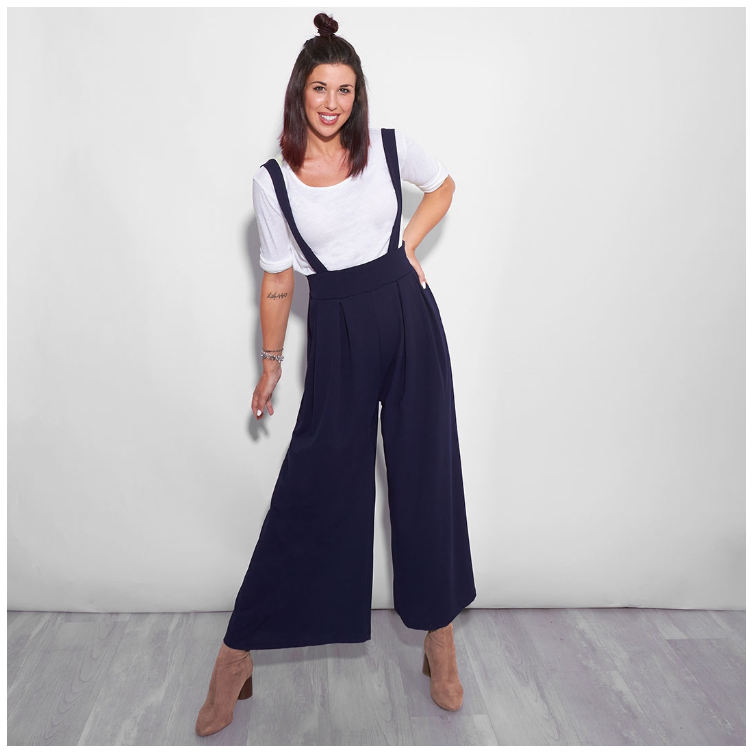 Navy blue suspender trousers