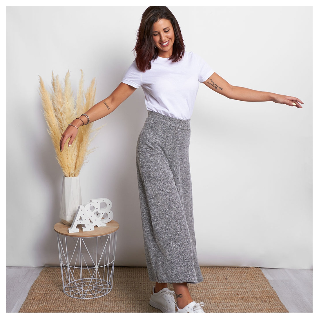 Marbled palazzo trousers