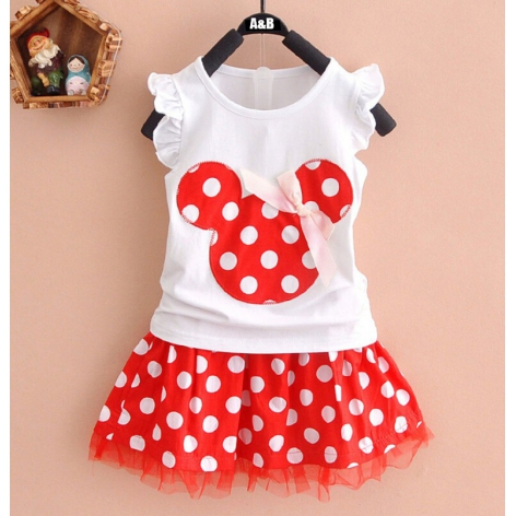 CONJUNTO MINNIE TOPITOS ROJO