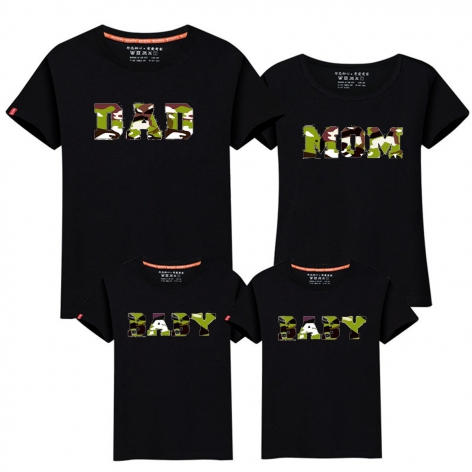 CAMISETA DAD-MOM-BABY NEGRO