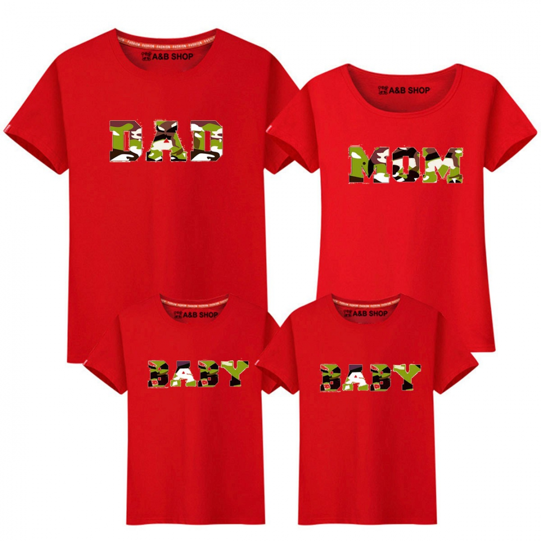 CAMISETA DAD-MOM-BABY ROJA